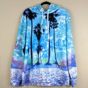 Teal Blue Sweatshirt Pullover Palm Trees  Plus XXL
